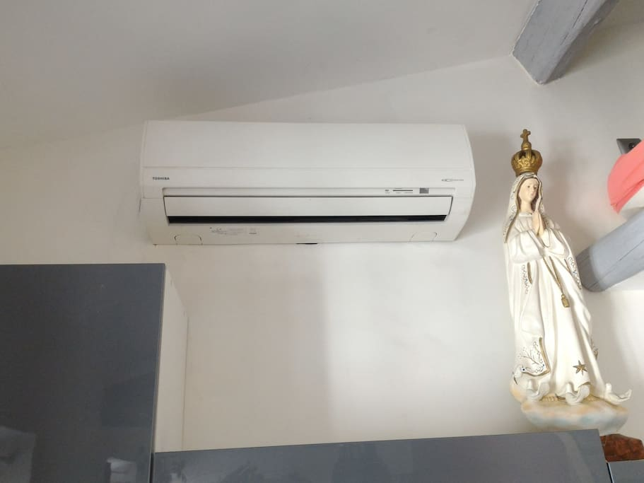 30 to 35 Degree in Nice in Summer !!! Air conditionné fonctionne.  Air condition is working  ;)