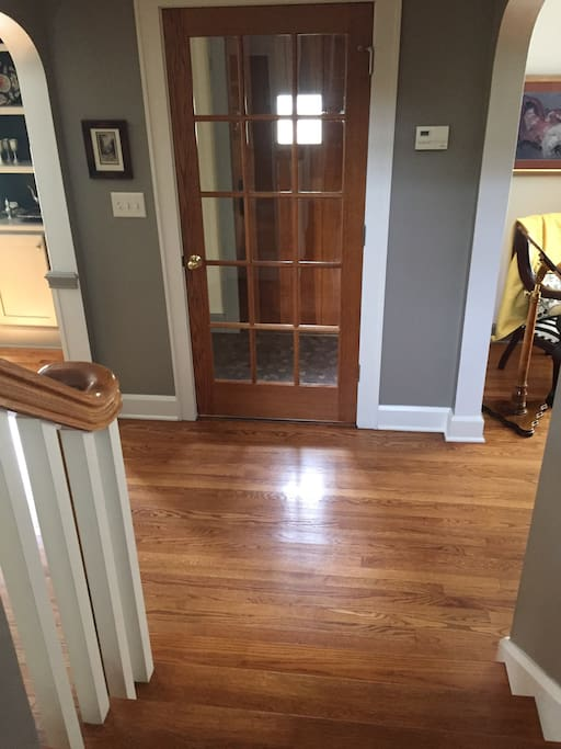 Private front entrance leads to the living and dining rooms and right upstairs to your private quarters.