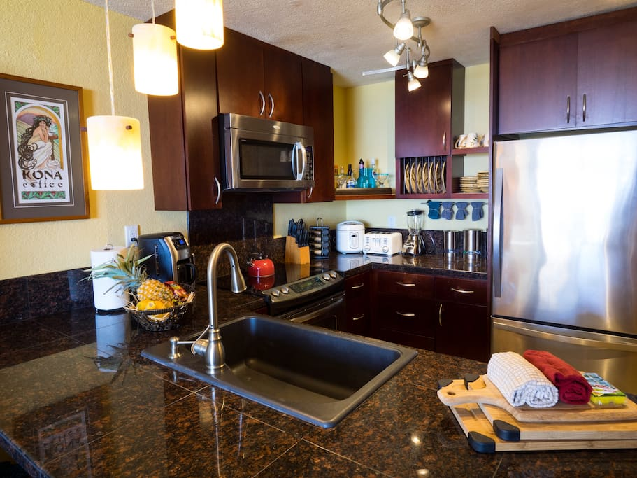 Kitchen features everything you need, toaster, rice cooker, coffee grinder, blender, etc.