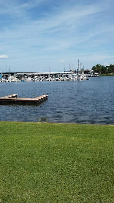 Spectacular Marina View from Living Room. Lawn below for picnics at the lake.