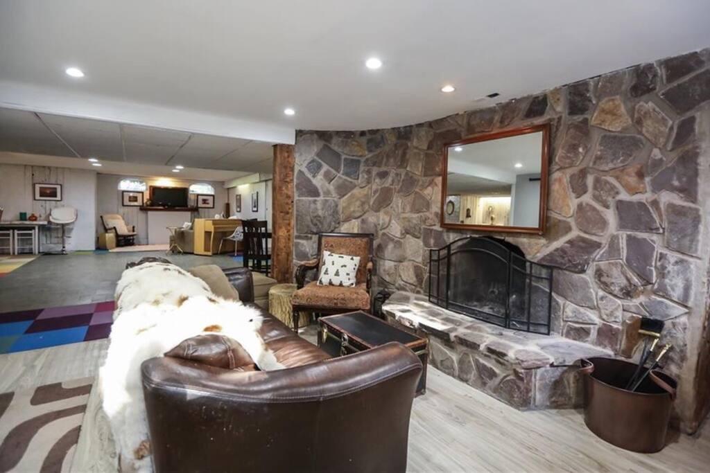 Fireplace sitting area near bar