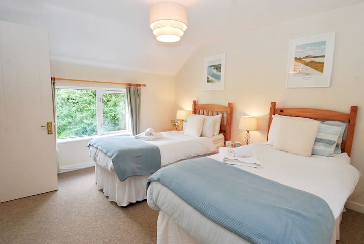 Upstairs twin with views of the Camel Valley