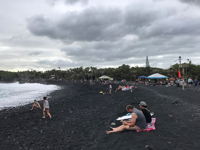 Pohoiki Family Beach - just down our road from Dolphin Cottage. It I s the newest beach in the world. Created by the recent Kilauea Eruption. It is now the largest beach in our area.