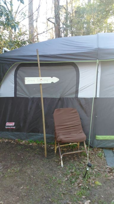 Sign marked; GEAUX Glamping