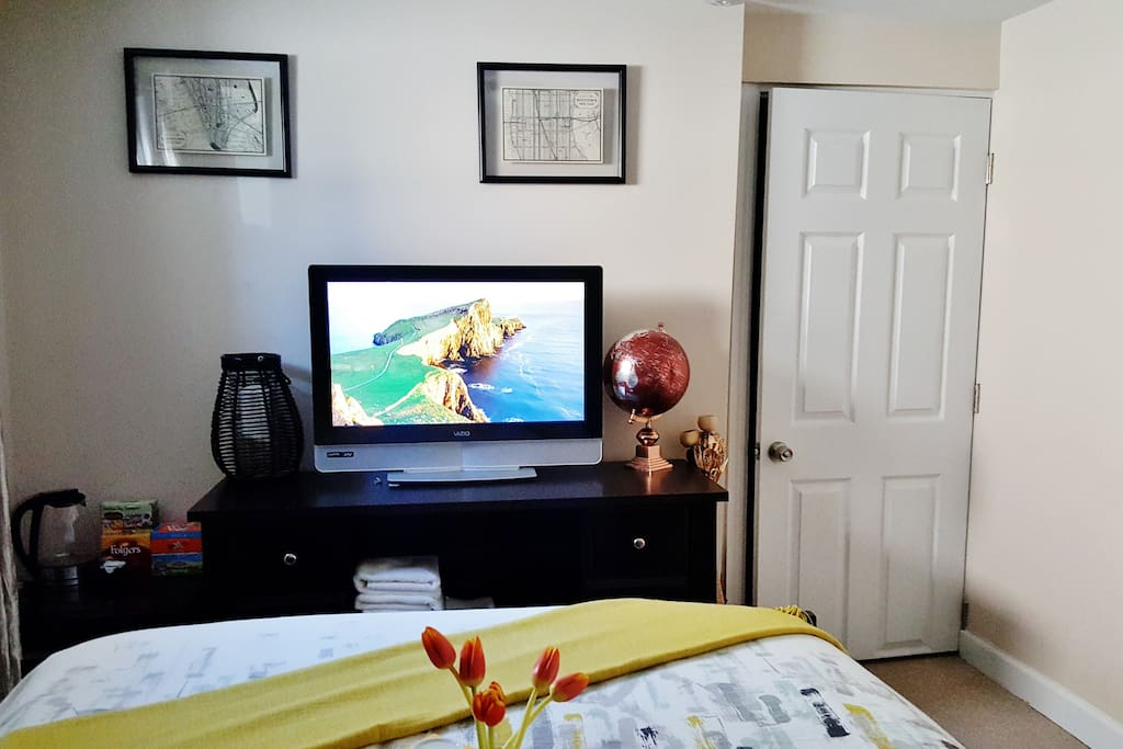 TV Equip with Firestick, Netflix access, and (free movies!!) Bedroom door equipped with separate lock and key.
