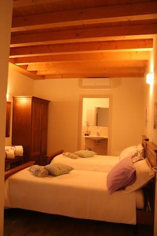 Camera singola a doppio letto dotata di bagno con doccia. 60€ al giorno per due persone. 40€ al giorno per uso singolo. Aria condizionata Armadio Kit di cortesia  Servizio Phone  Wifi gratuito