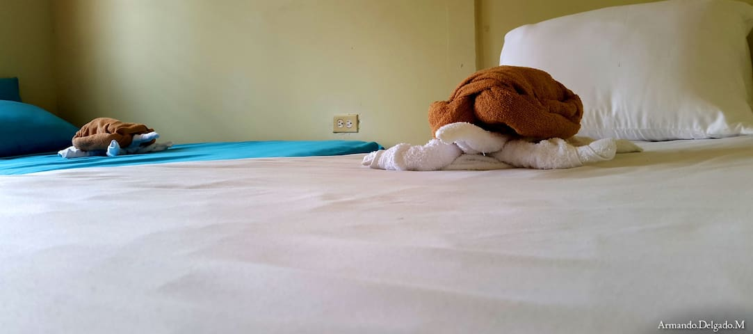 Habitación con dos camas con aire acondicionado