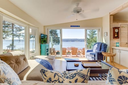 High-bank waterfront home w/ Puget Sound & wildlife views!