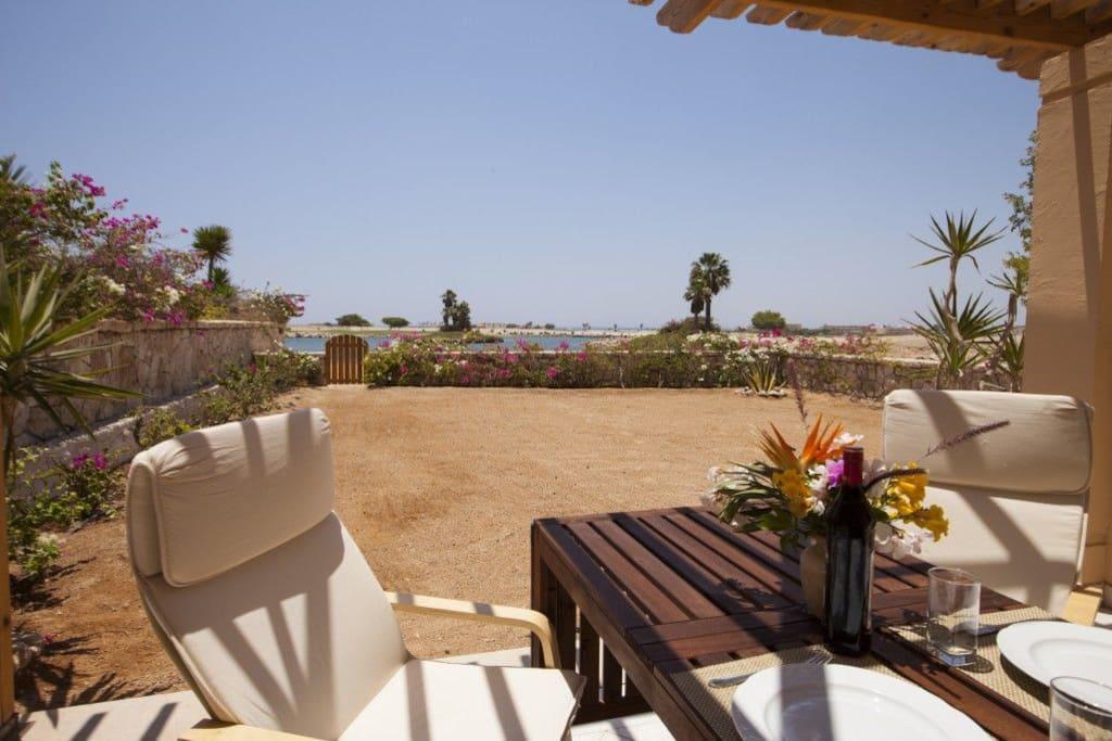 Terrace, garden, lake and islands