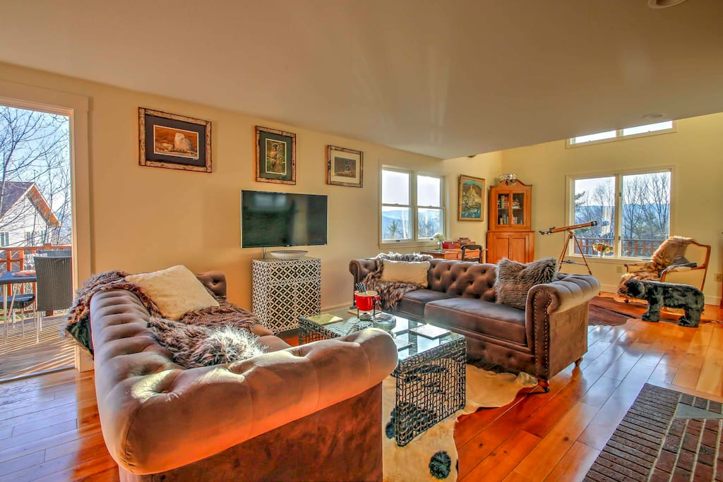 The living room offers a Roku 43-inch TV, Galieo telescope, bear footstool, child-safe Dimplex Stockbridge wood stove and 180-degree panoramic views.