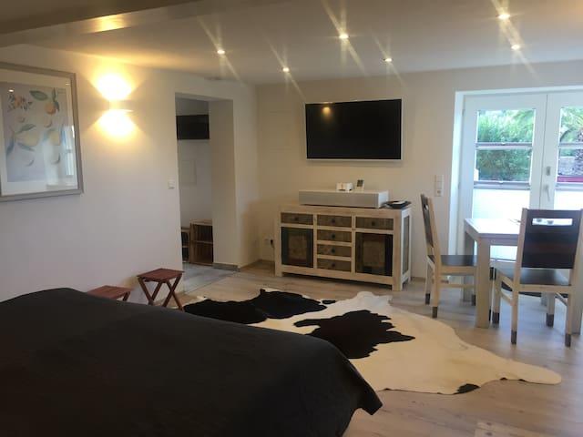 Hauptzimmer mit Doppelbett 2m x 2m. Grosser Fernseher. Frühstückstisch mit Fensterblick.