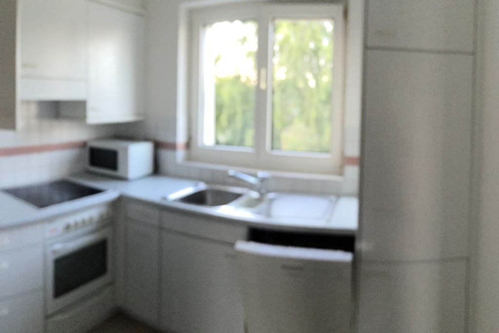 Küche mit Backofen, Mikrowelle, Geschirrspüler und Kühlschrank zur Mitbenutzung