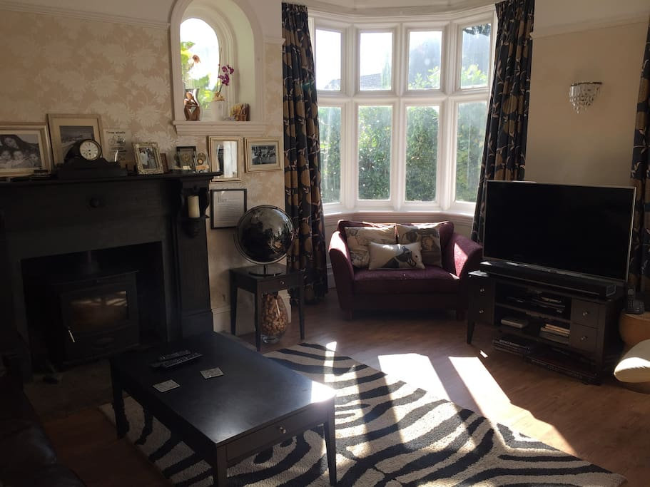 Drawing room with wood burning stove and TV, blue ray 3D DVD player, Bose sound link