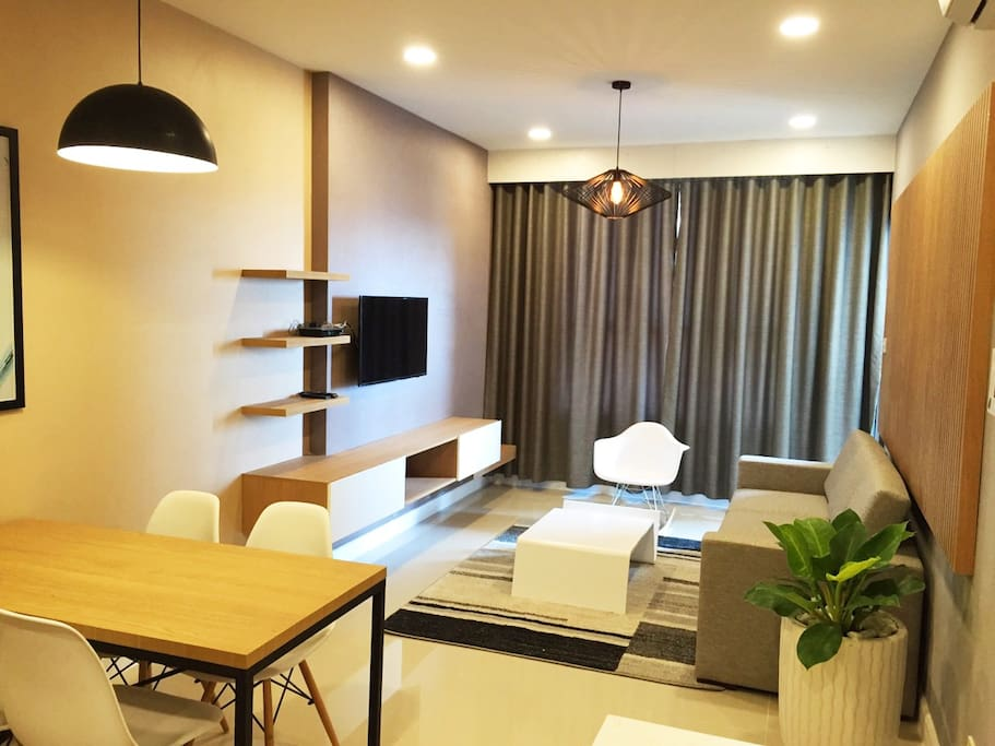 Living room with cable TV, aircon, high speed Internet