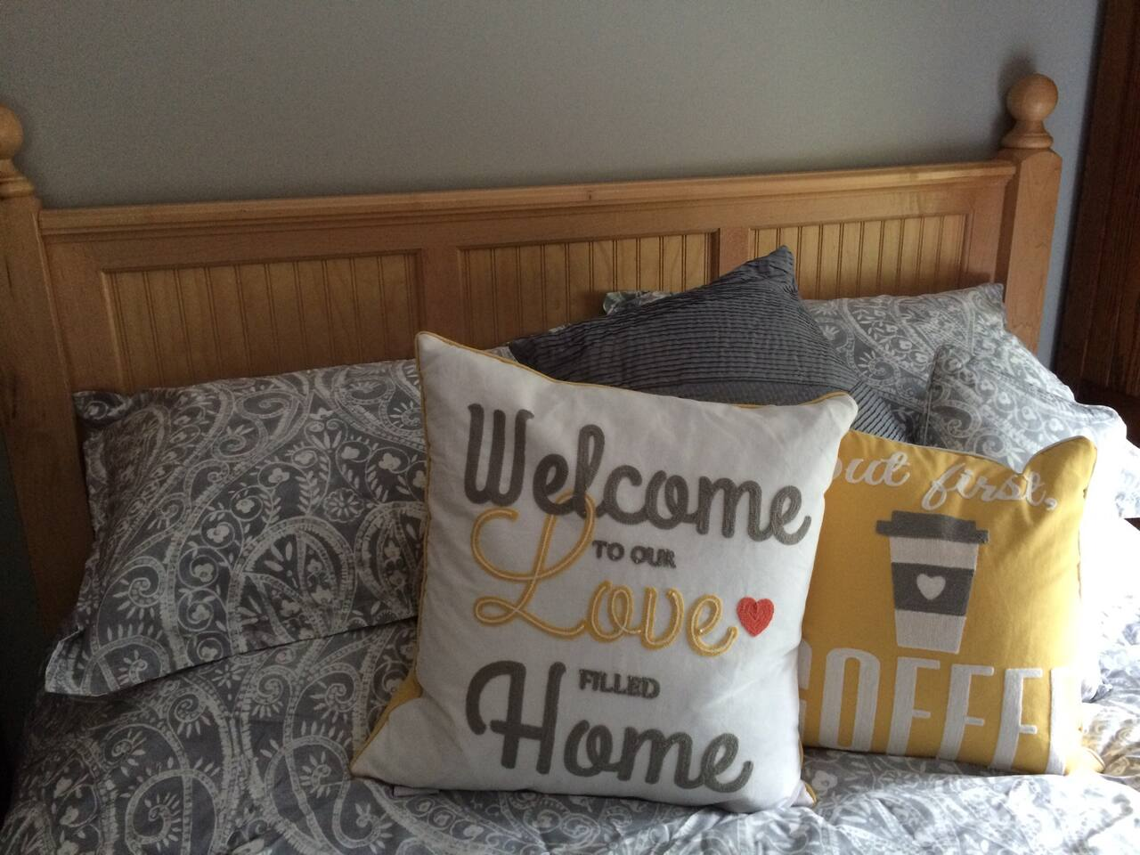 Welcome to our Love Filled Home! Our sentiments exactly.