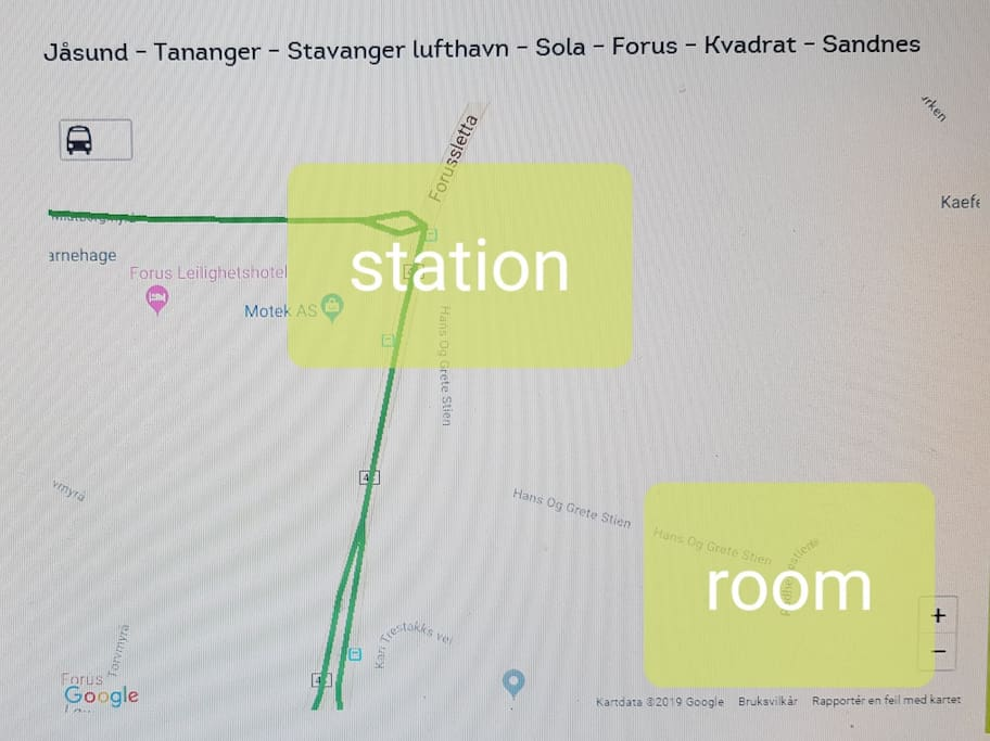 Take bus 42 from Stavanger airport and get off the bus in the first station in 44 There are only 5 minutes from the bus station to your room