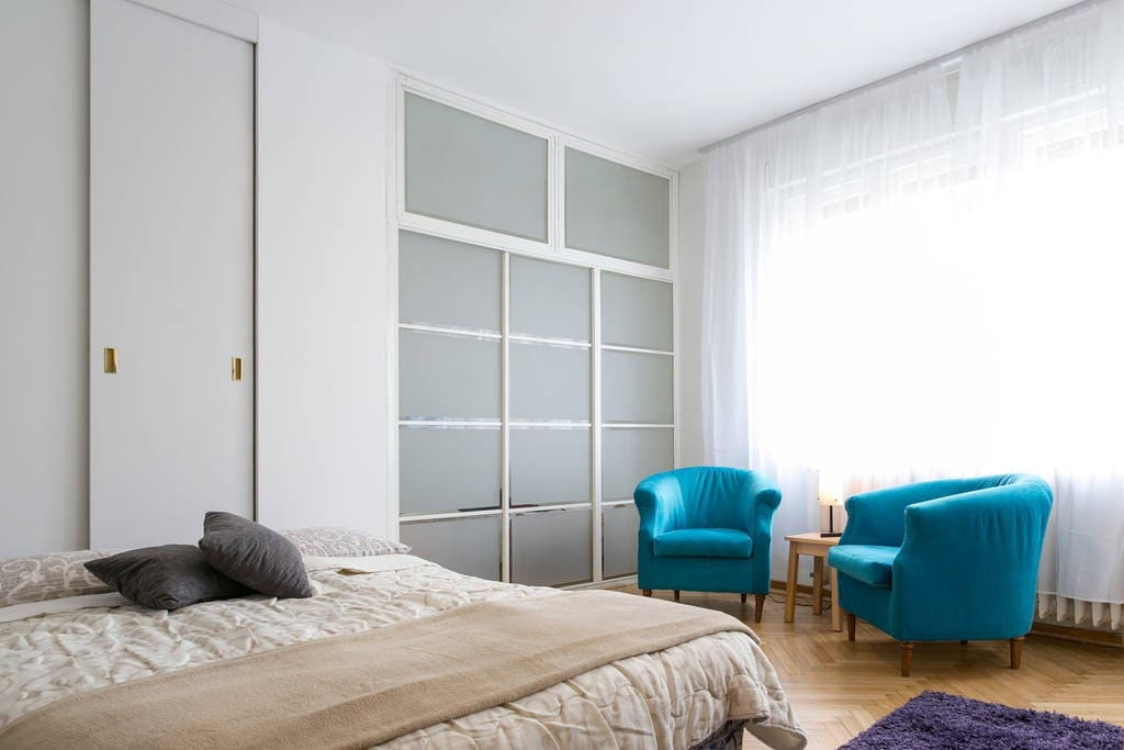 Living room with open sofa-bed