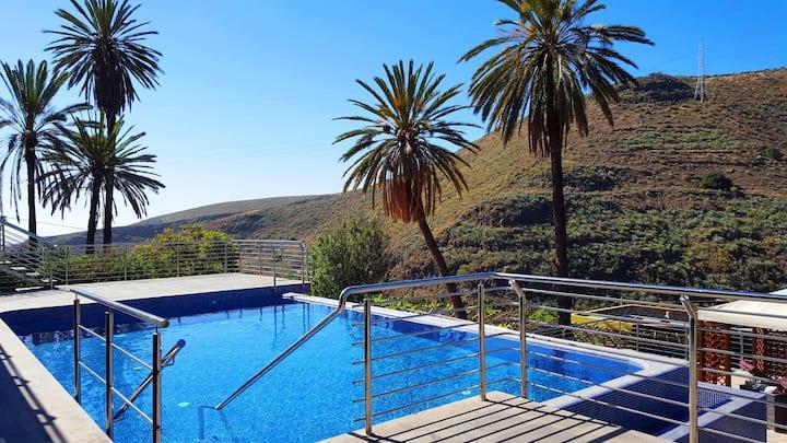 Apartamentos en una finca ecológica con piscina.
