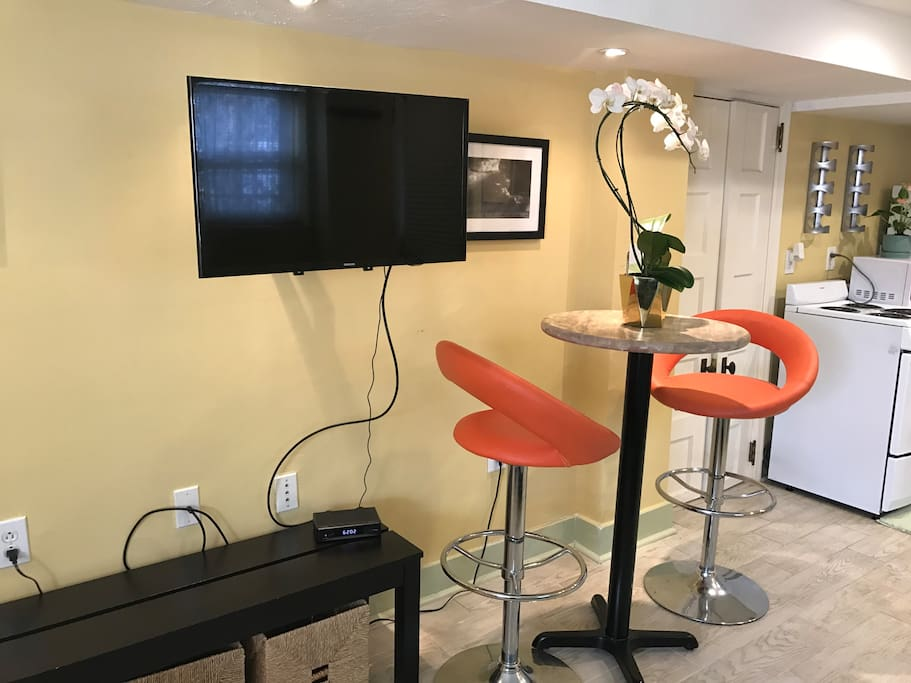 Smart TV & Breakfast Table + Storage Bins & Closet. Connects to Netflix, Amazon Prime, Vudu and more! New TV swivels to watch comfortably from the bed or the futon.