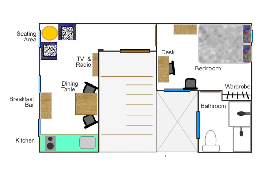 Floor plan. You can see it small, but it has everything you need to enjoy your time.