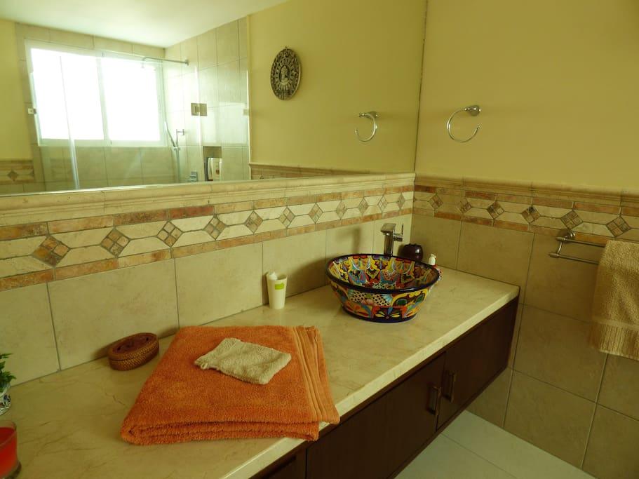 Salle de bain attenante à la chambre, douche et wc, meuble double porte et deux tiroirs