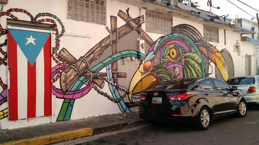Urban art.  Walking distance.