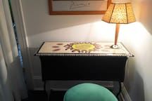 Hand-painted bedroom desk together with one example of our unique chair & stool collection.
