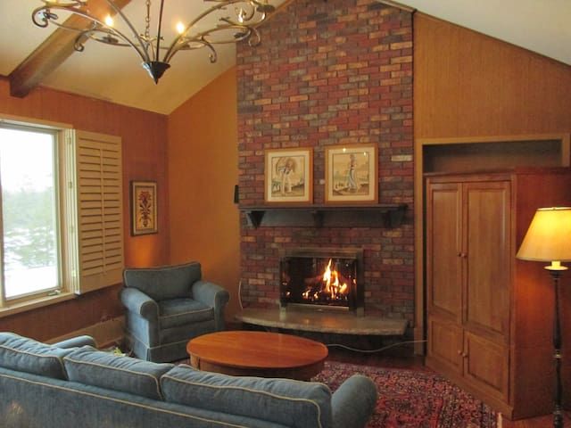 Inviting family room with gas fireplace is off the kitchen and a great place to gather.