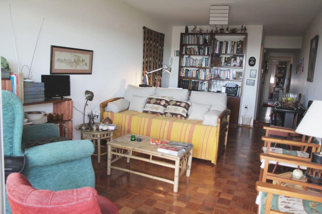 Sala-Comedor y zona de escritorio - Living room and desk area