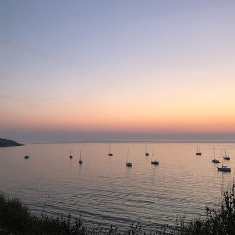 Totland Bay at Sunset Easter 2019. Just a ten minute drive from the apartment.