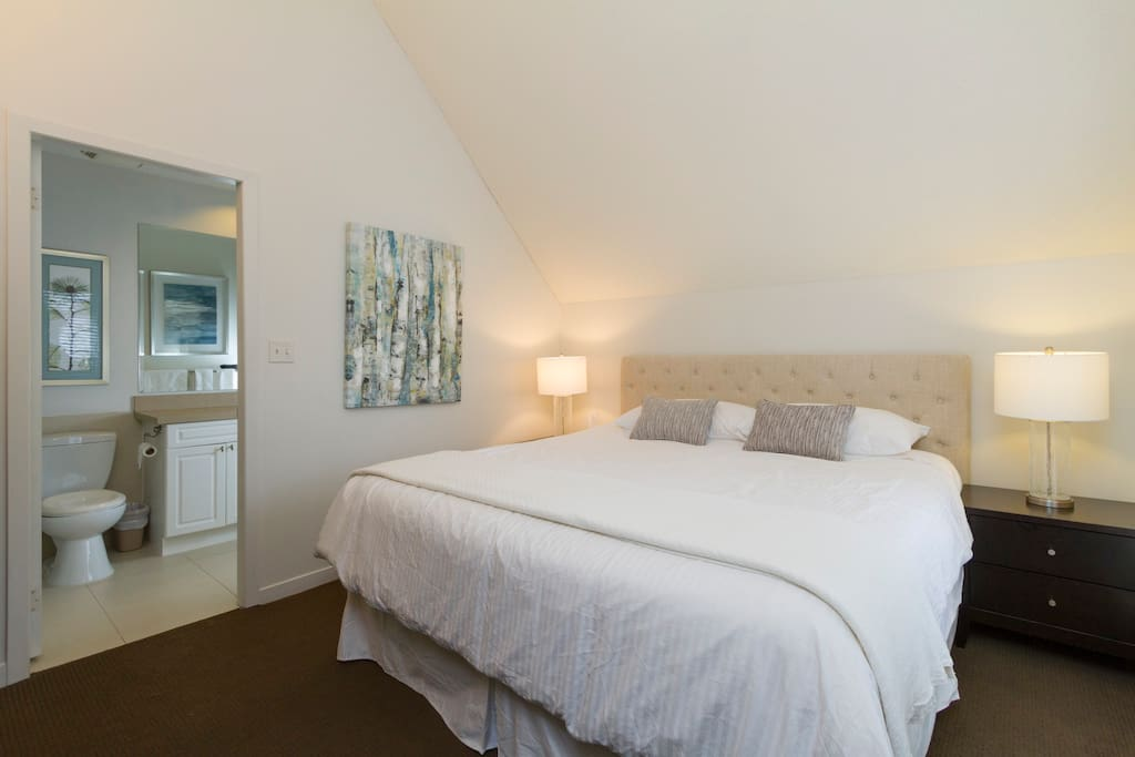 Master bedroom with king bed, ensuite and TV