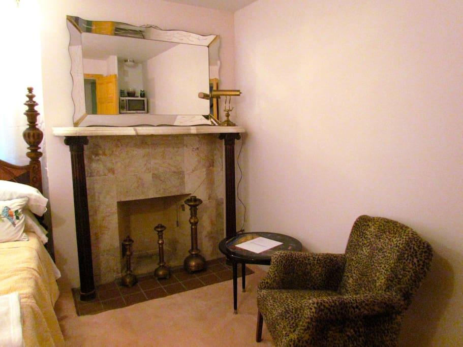 Fireplace, sitting area