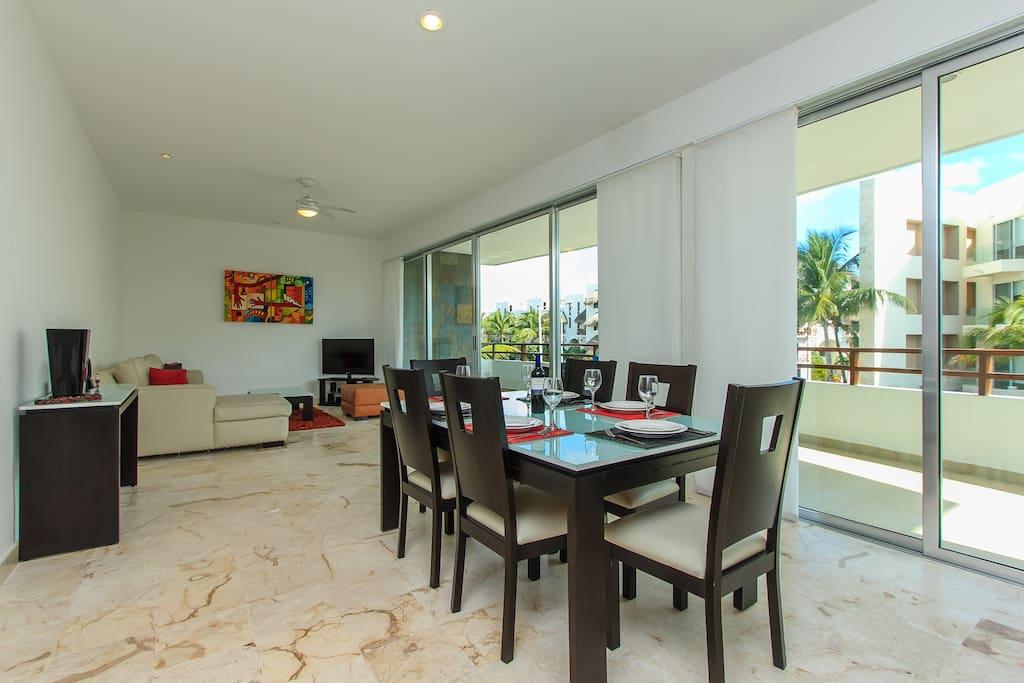 Living area, large windows