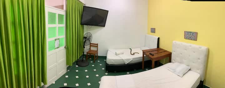 IGUANA HAUS, Twin room with A/C & TV cable.