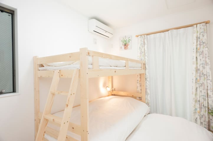 (1F,Bed room③) a bunk bed with stairs **a single size futon is provided for additional guest.