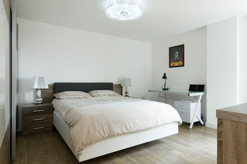The large ensuite bed room Furnished with Brand new German furniture, King size bed with memory foam mattress!