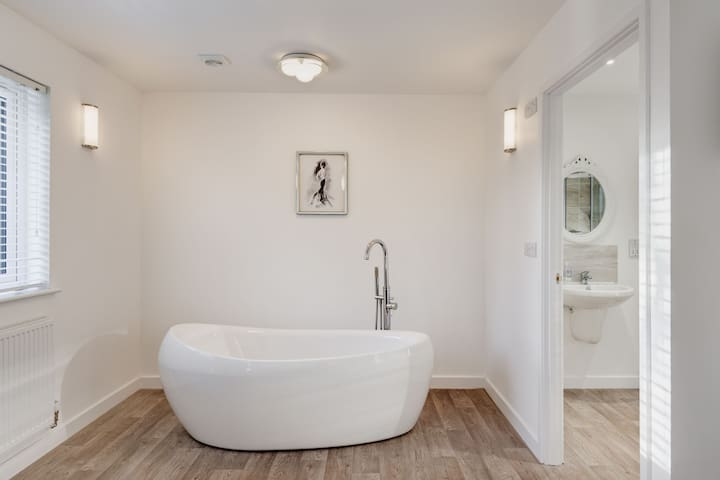 Free standing bath in Master bedroom