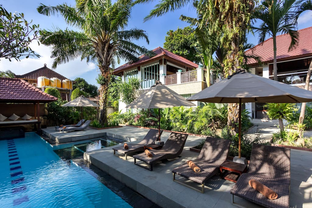 Our external luxury pool at the heart of Seminyak yet in a secluded area surrounded by lush gardens