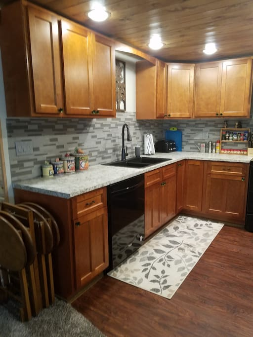 Remodeled kitchen with tongue and groove ceiling