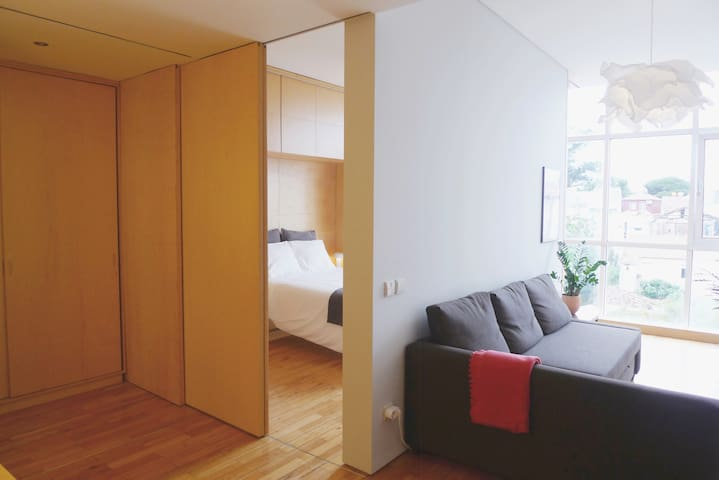 Sliding doors allow for privacy