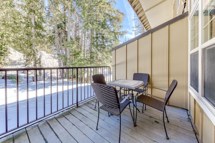 Three-story chalet w/ shared pool, hot tub, & sauna access - bring your dog!