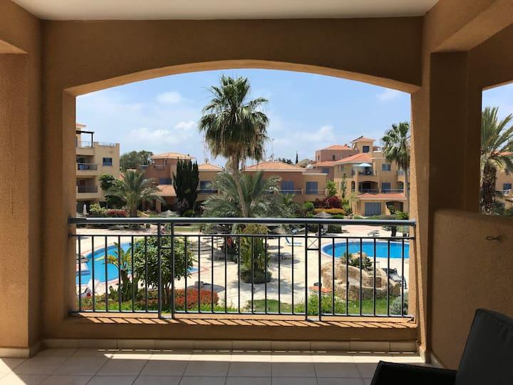 Popular Limnaria Gardens: modern, pool-facing unit