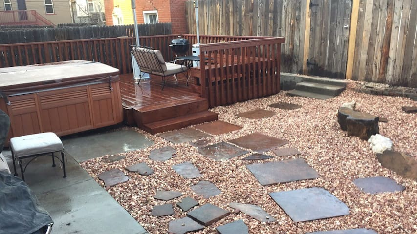 Back yard, deck and hot tub, with charcoal grill, coming soon large gas grill, heaters, furniture, the works.  Private parking in back.