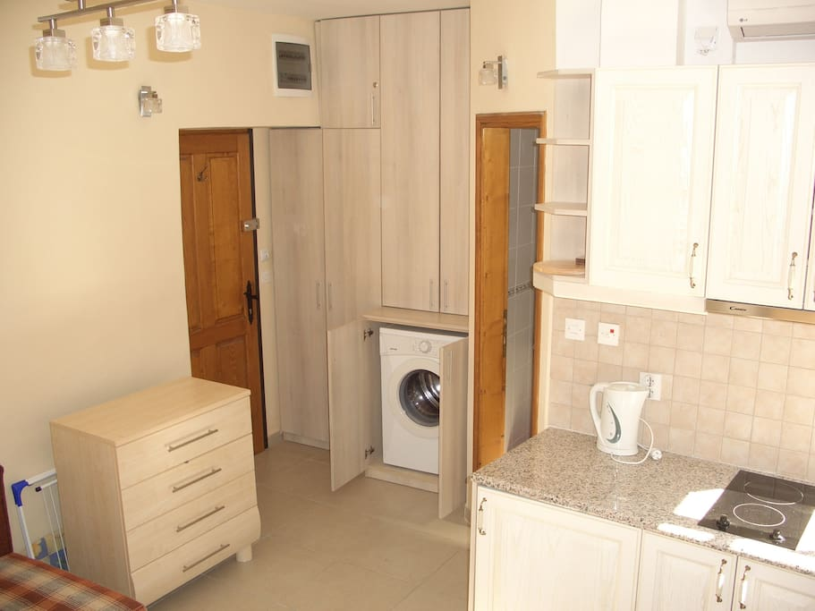 View from windows to Kitchenette, front door (to left), bathroom door (to right) and wardrobe with washing machine
