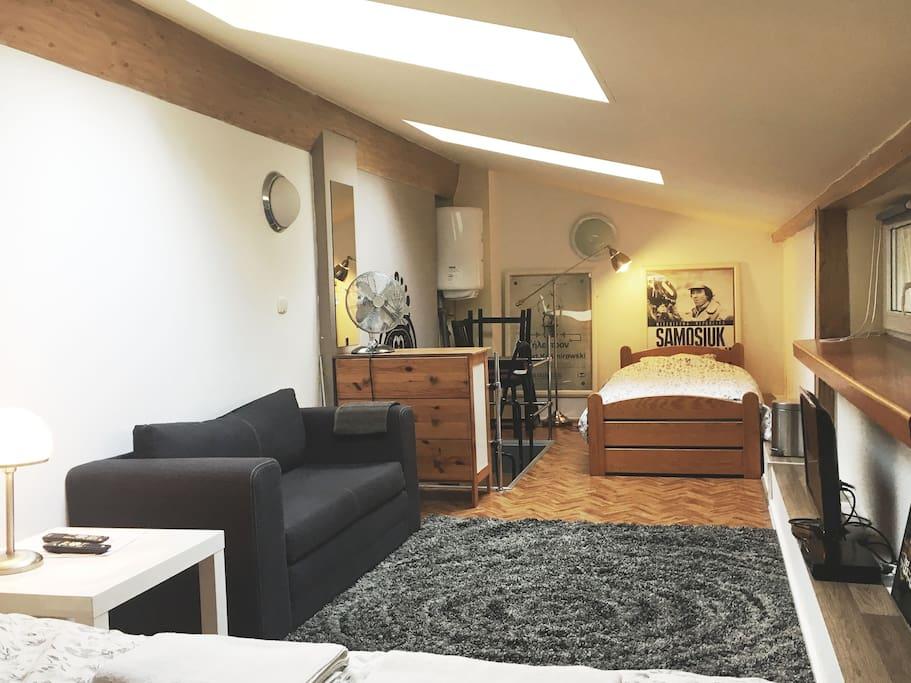 Comfy Sofa, small coffee table and TV