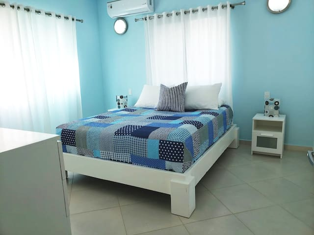 Queen size bed with orthopedic mattress