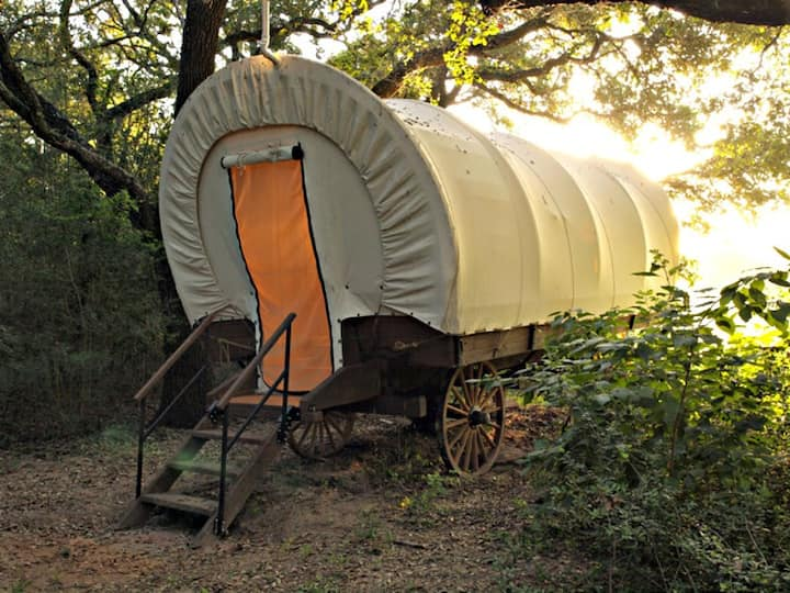 Real Covered Wagon with Bath, Kitchenette & Fire Pit
