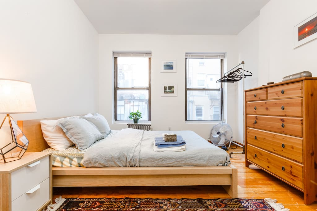 """Very comfortable bed with 3"""" Organic Latex mattress topper.  Fine linen duvet and soft sheets and fluffy pillows."""