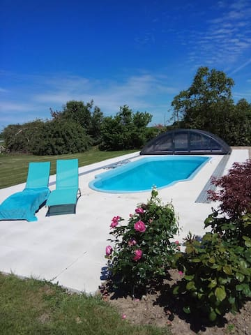 Gite near Loches heated swimming pool with cover.