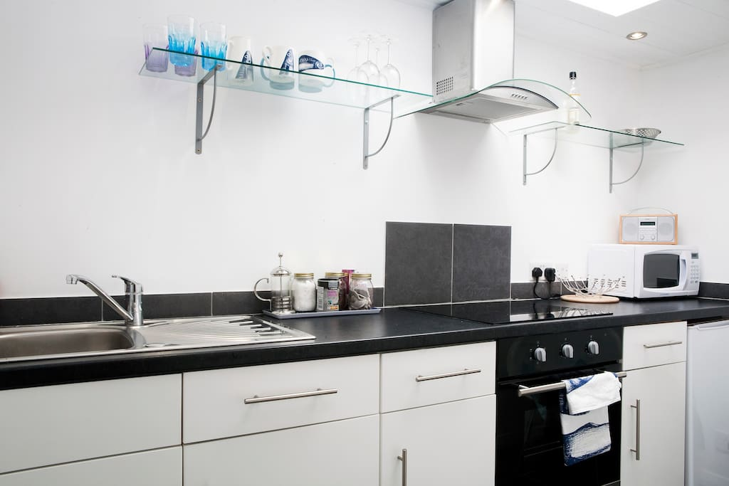 Studio's fully equipped kitchen
